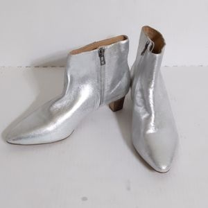Madewell(6.5)Portia Silver Metallic Leather Bootie